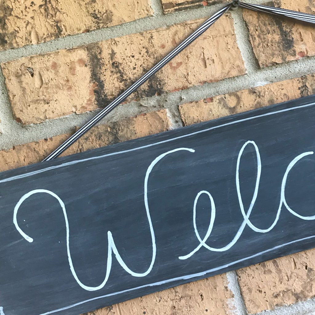 DIY chalkboard welcome sign details