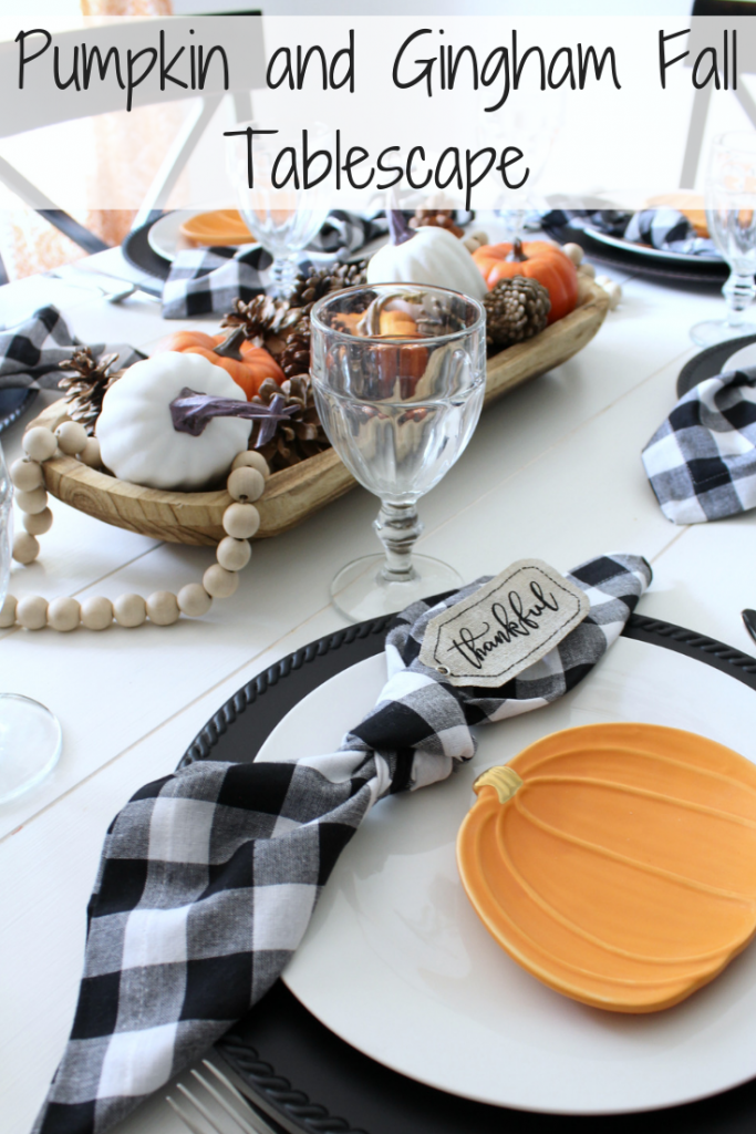 Pumpkin and Gingham Fall Tablescape