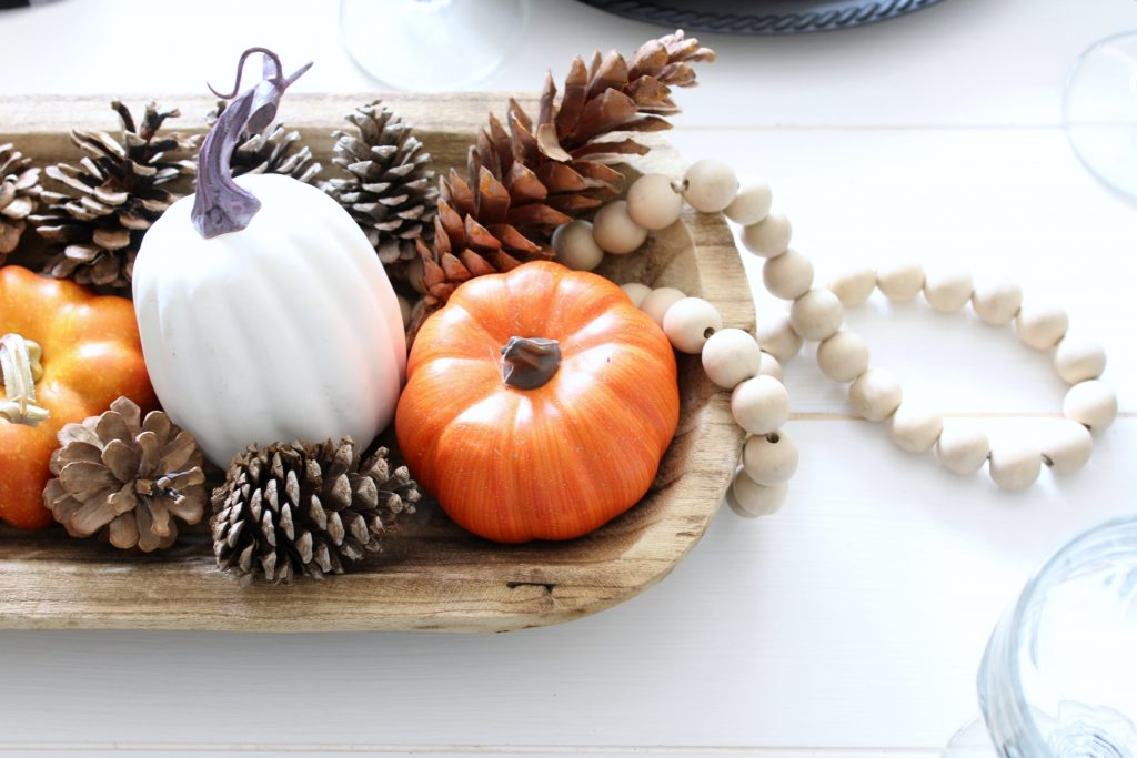 Natural faux pumpkin fall centerpiece