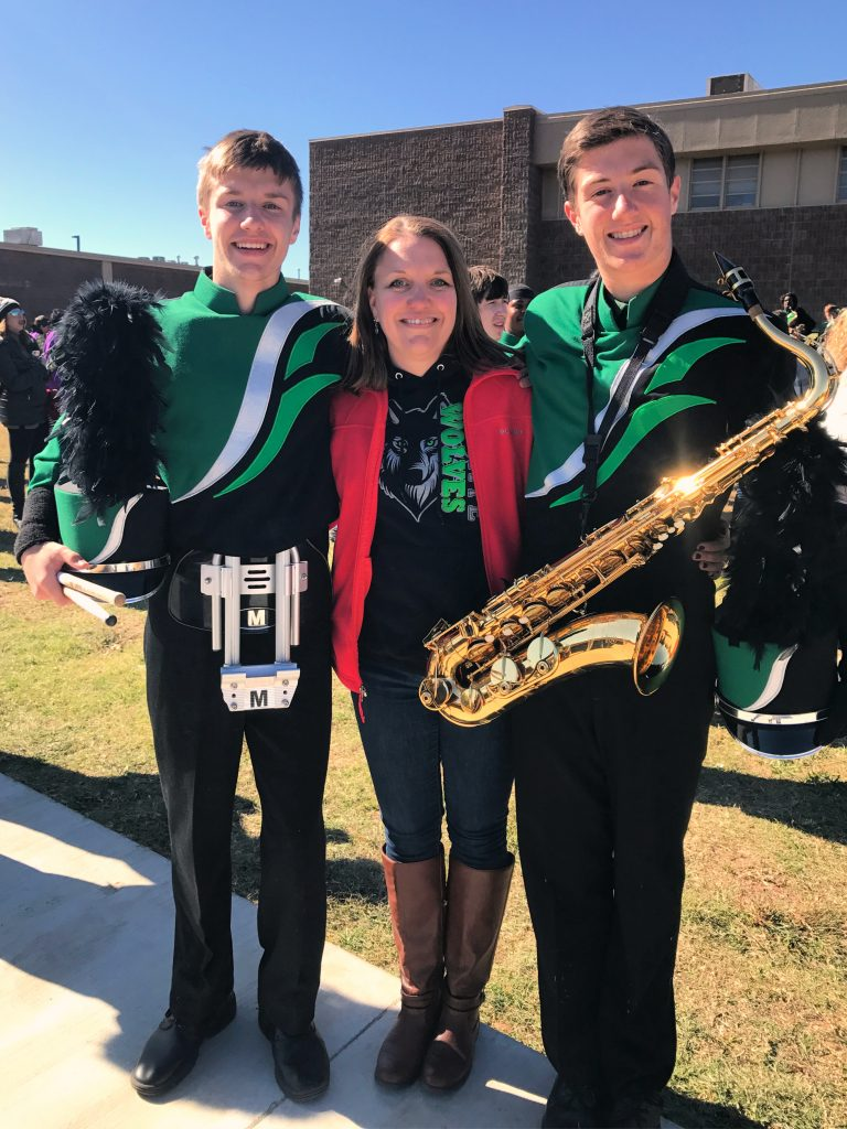 Caleb and Gavin in Band with mom