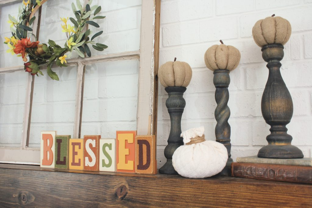 sweater pumpkins and hoop wreath fall mantel decor