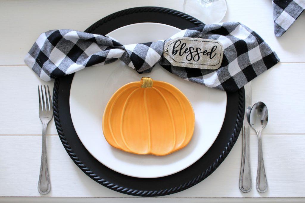 fall place setting black white and orange