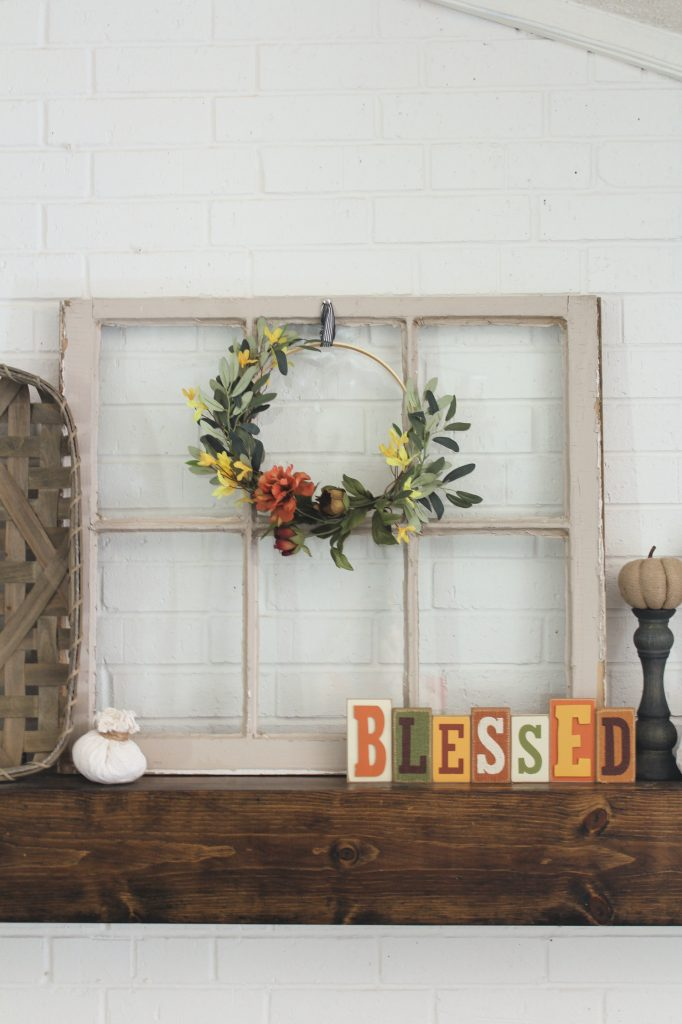 Fall mantel decor using antique window