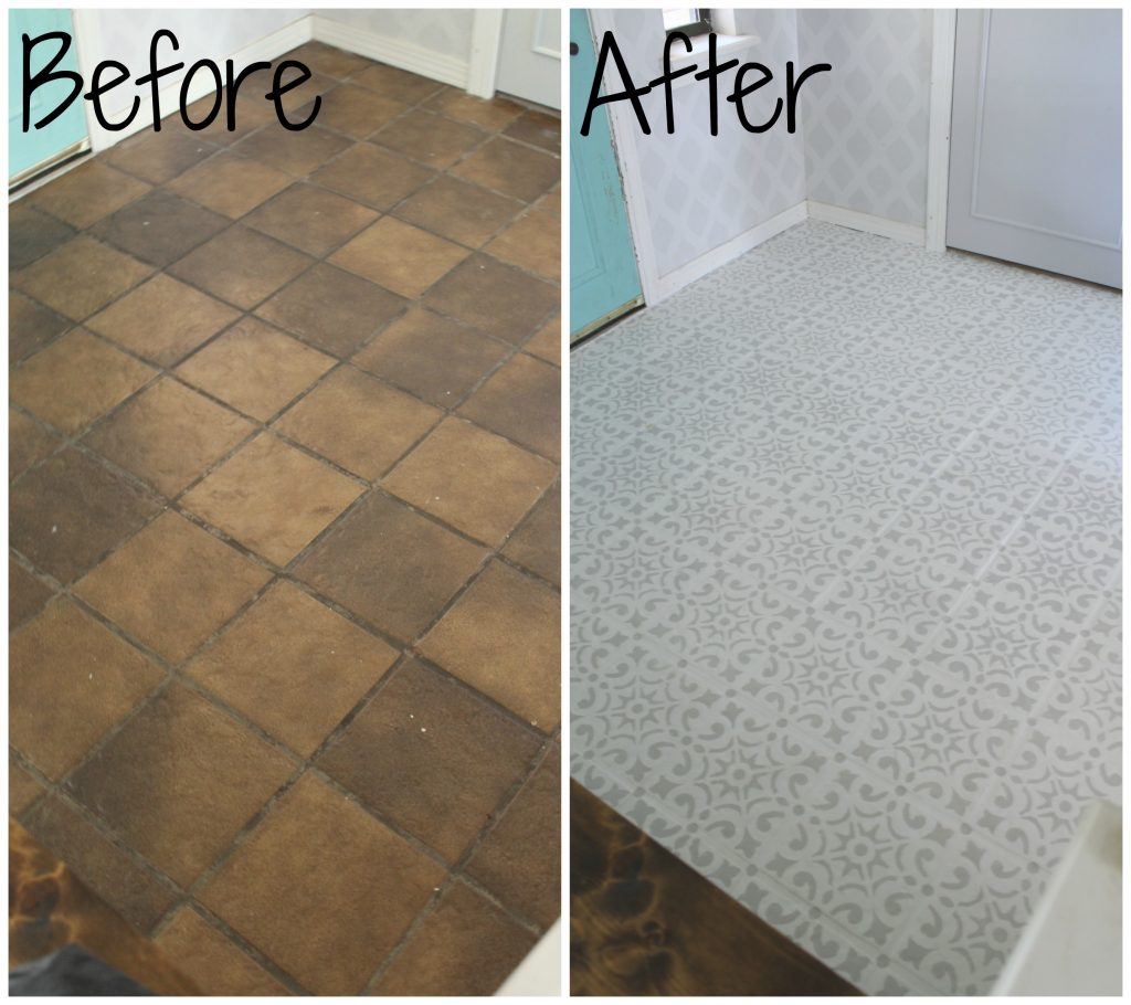before and after painted tile floor update