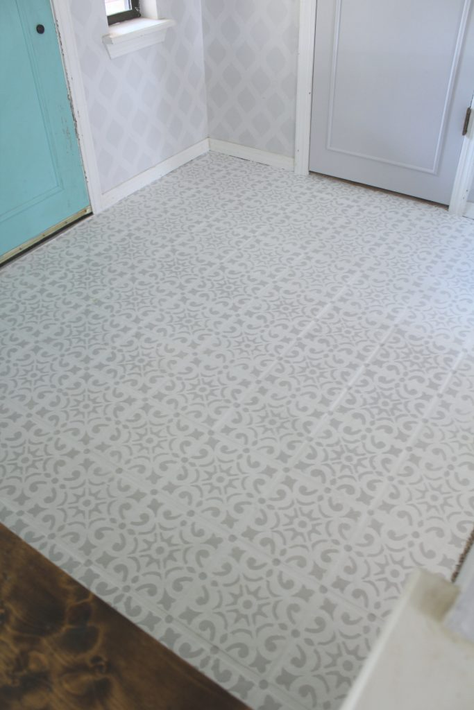 Painted and Stenciled tile floor update