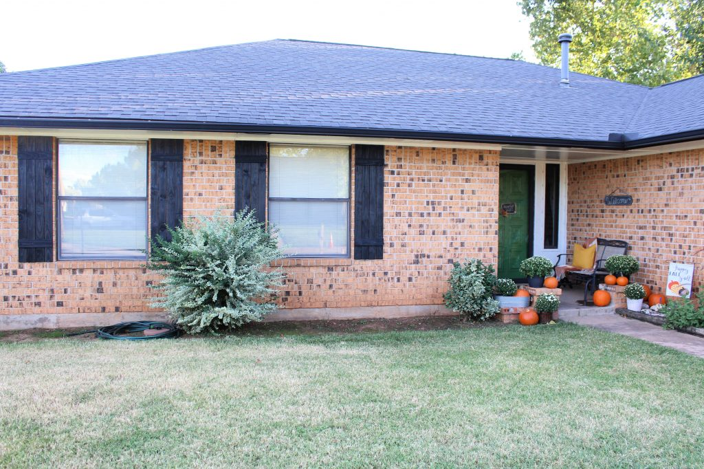 Curb Appeal Update with new shutters and fall porch