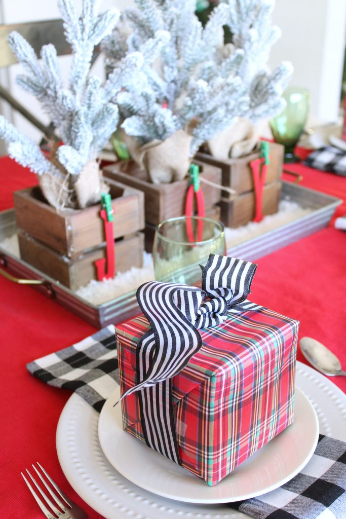 Red plaid Christmas tablescape