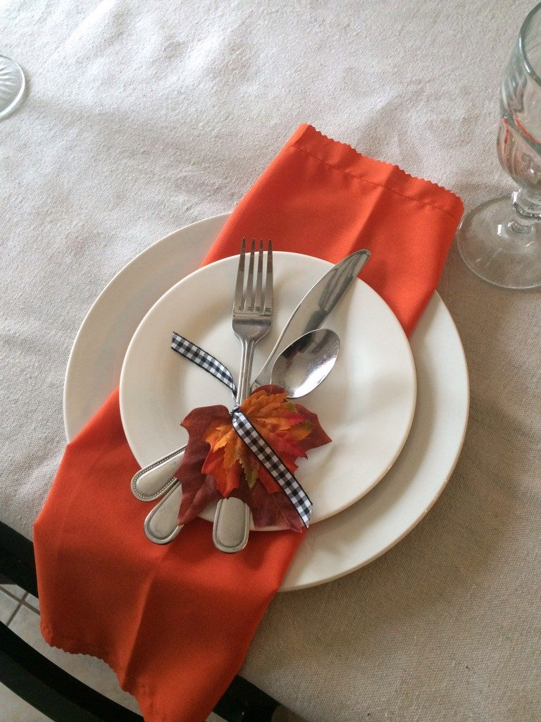 Fall Place Setting With Leaves and Gingham