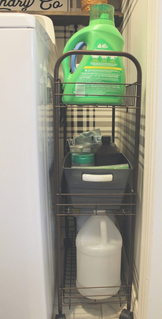 Rolling storage caddy for laundry supplies