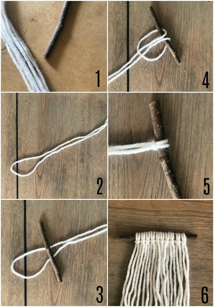 Securing yarn to hanger (stick) for macrame ornament