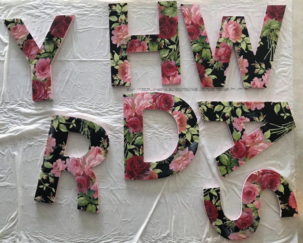 Floral chipboard letters