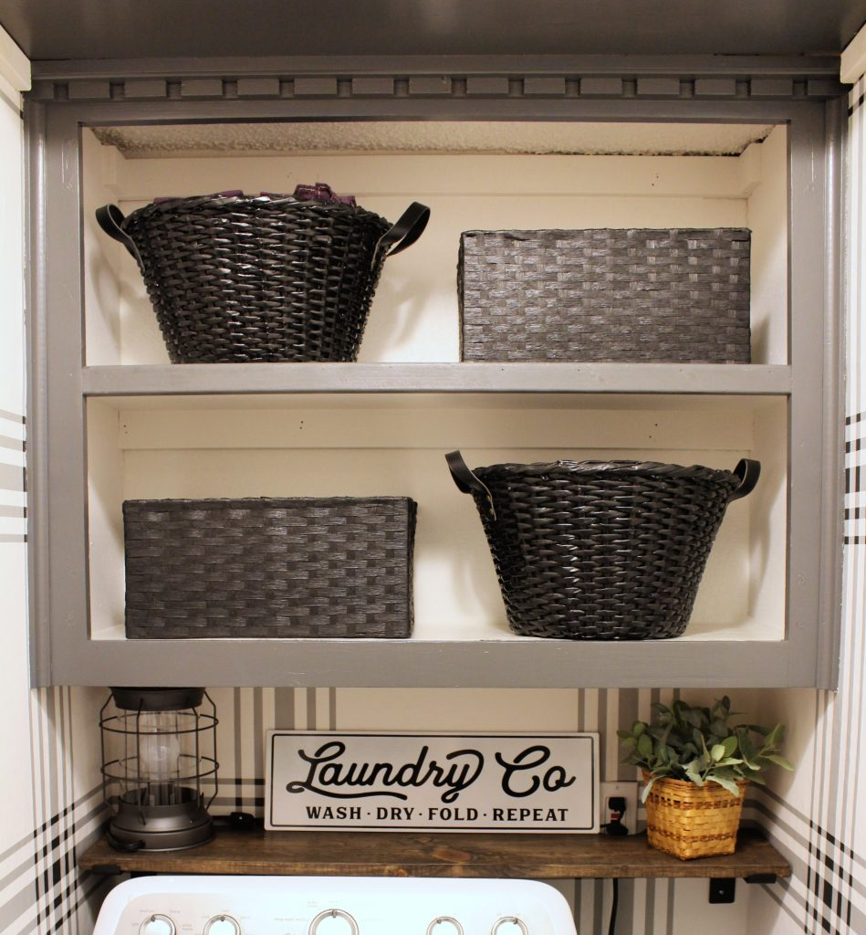 Built-in laundry shelves