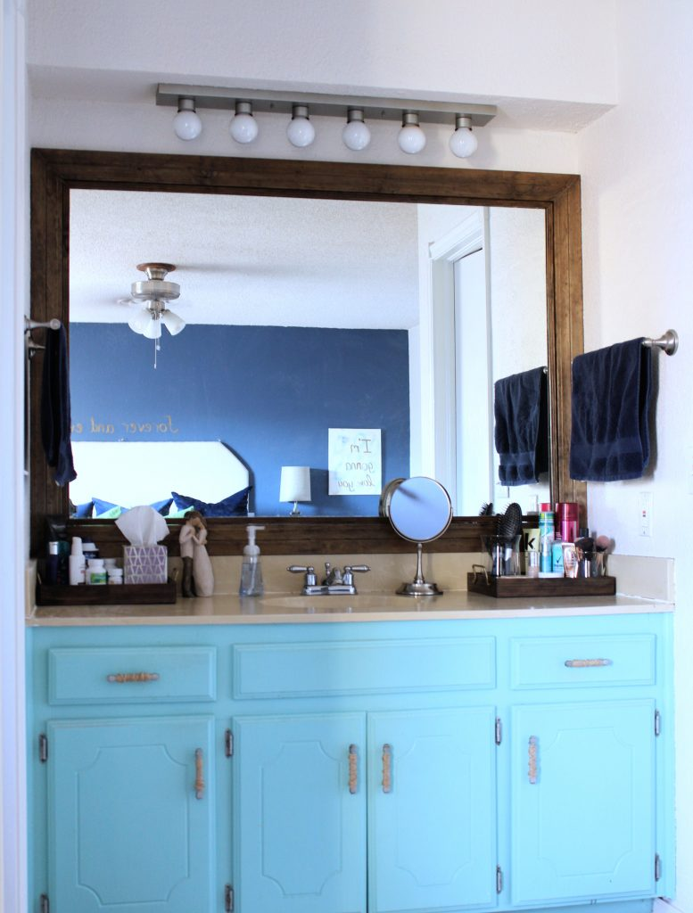 Master bathroom his and her vanity organization