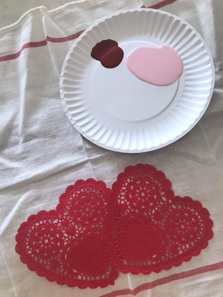 fabric paint DIY heart stencil