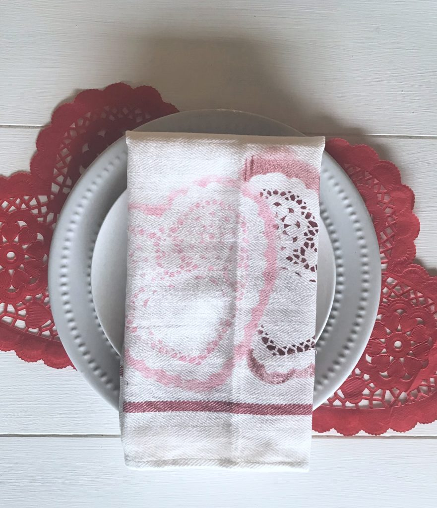DIY heart stenciled tea towel napkin