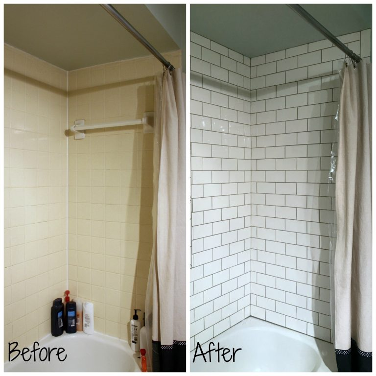 Kids Bath Shower Tile Update before and after Phase 2