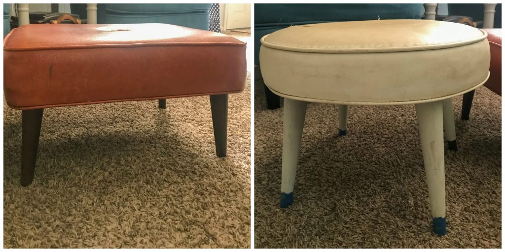 Retro Ottomans before makeover