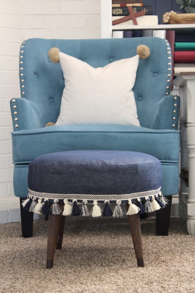 Slipcovered Ottoman makeover