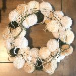 Neutral Christmas Pom Pom Wreath