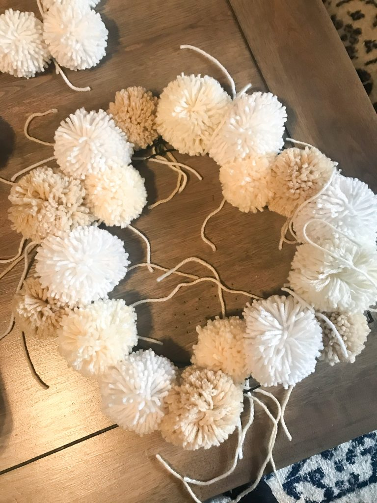 Neutral Christmas Pom Pom Wreath Tutorial