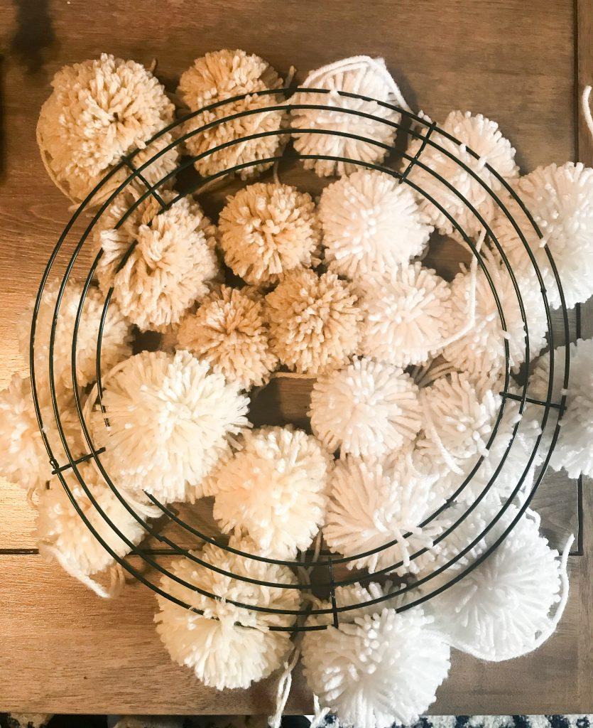 Neutral Christmas Pom Pom Wreath Tutorial