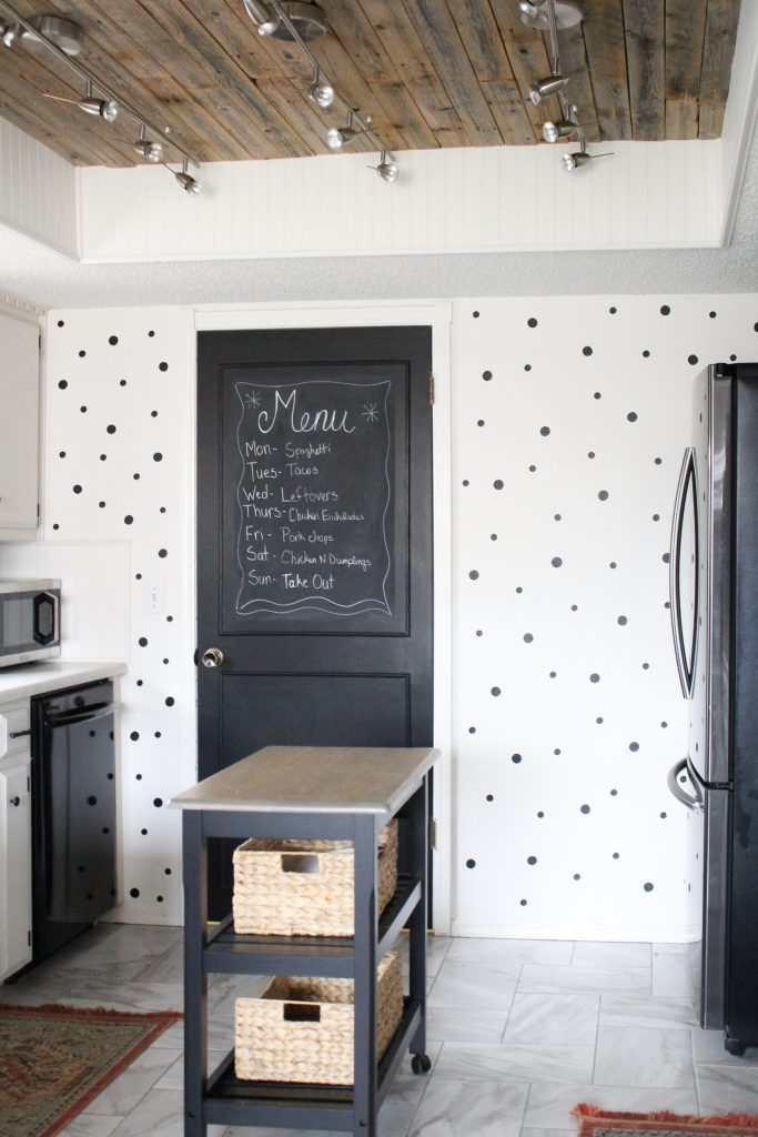 Polka dot accent wall in kitchen