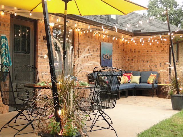 Blue and yellow patio decor