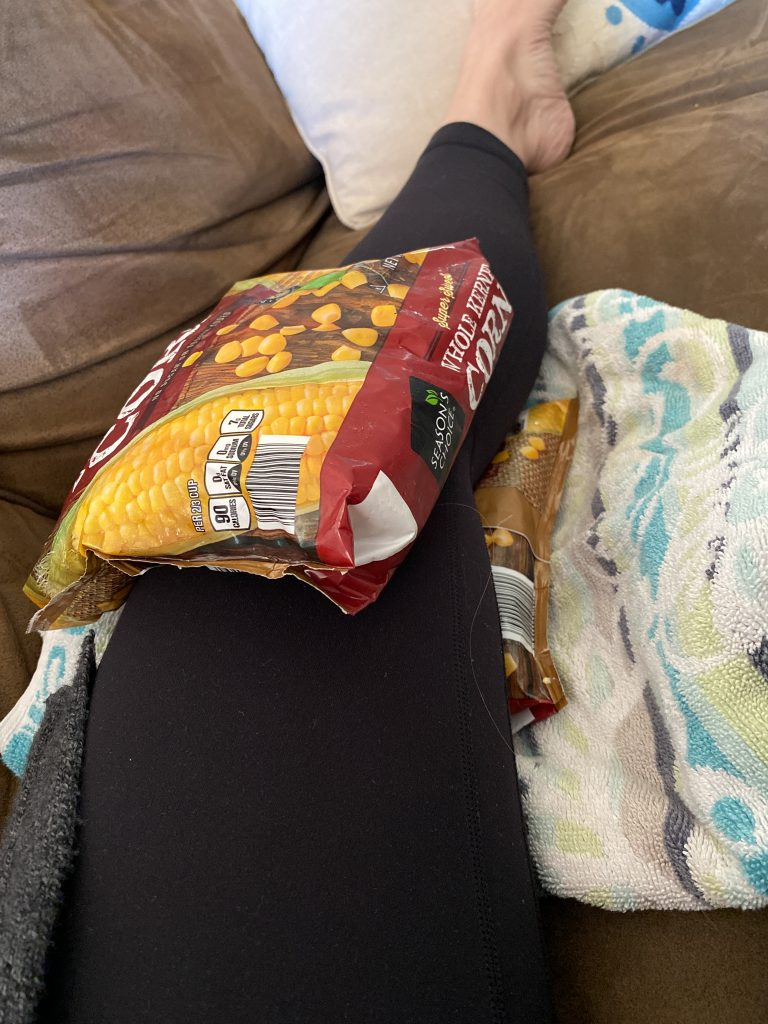 Icing a sore knee